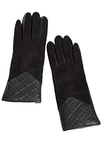 Lined Quilted Gloves (Women's Shearling Sheepskin Quilted Gloves, BLACK, Size MEDIUM)