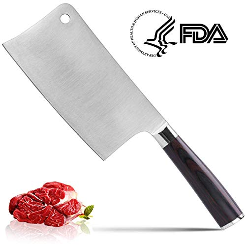 Meat Cleaver 7-inch Professional Butcher Knife  Cleaver Knives Vegetable Cutter Heavy Duty Chopper Butcher High Carbon Stainless for Home Kitchen or Restaurant