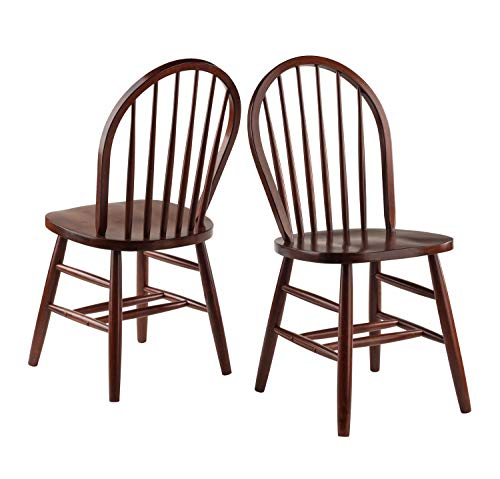 Kitchen Windsor Chair - Winsome Wood 94836 Windsor 2-PC Set RTA Walnut Chair