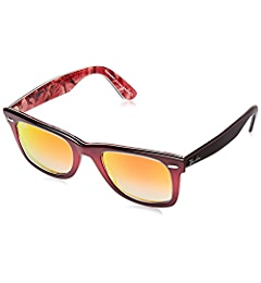 Amazon.com: Ray-Ban RB2140 12022X Wayfarer PIXEL Red Frame / Green Mirror Lens 50mm: Clothing