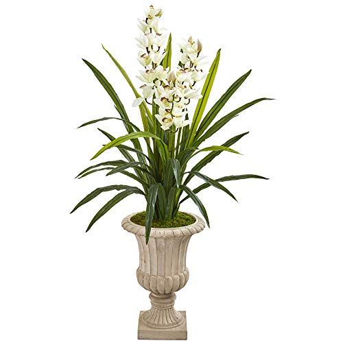 "Nearly Natural 9413 56"" Cymbidium Orchid Artificial Urn Silk Plants, Green"