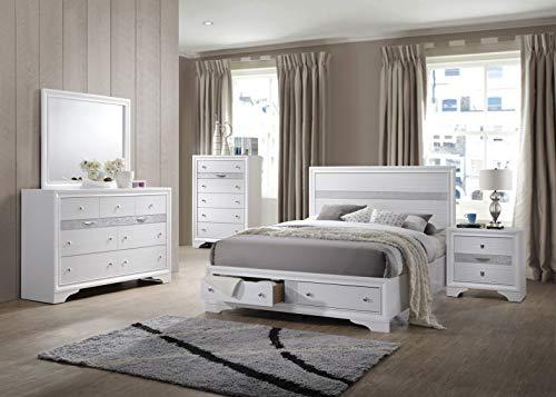 Kings Brand Furniture - 6-Piece - Watson King Size Bedroom Set. Bed, Dresser, Mirror, Chest & 2 Night ()
