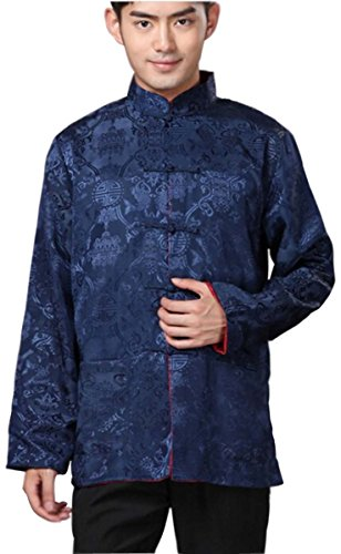 Blingland Chinese Traditional Uniform Top Kung Fu Shirt for Men Chinese Clothing US S-Blue+Red