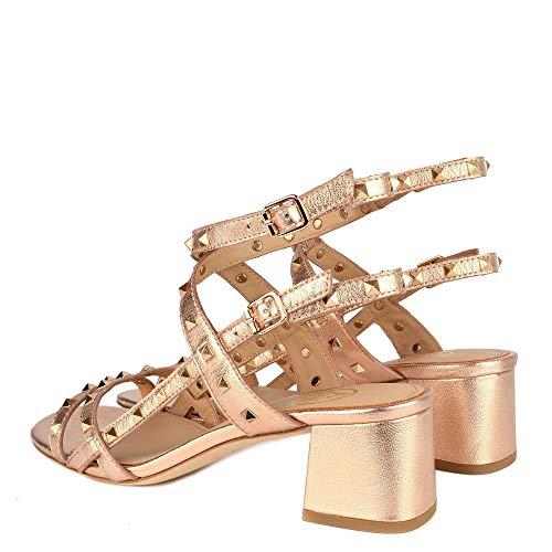 Sandalias Cuero Mujer Rosa Rosado Footwear De Tacon Iman Metalico Tachuelas Ash Con BxUn6q4B