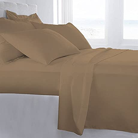 Lussona Collection 1200 Thread Count 300 GSM 100 Egyptian Cotton Quality 5 Piece Comforter Includes 1 PC Comfoter 4 PCs Sheet Set 15 Deep Pocket King Taupe