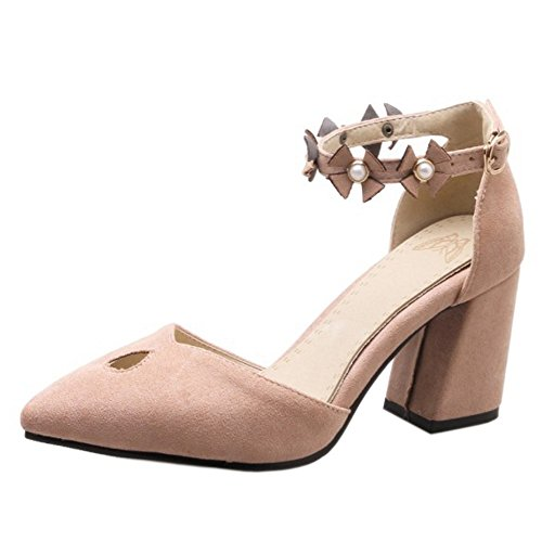 TAOFFEN Women's Block Heel Sandals Pumps Shoes Pink