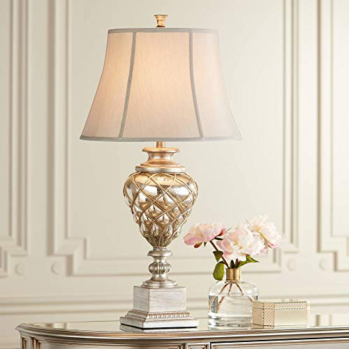 (Luke Traditional Table Lamp with Nightlight LED Mercury Glass Off White Mist Fabric Bell Shade for Living Room Family - Barnes and Ivy)