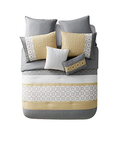 VCNY Home Winston Polyester 7 Piece SUPER SOFT Comforter Set, Wrinkle Resistant, Hypoallergenic, Full/Queen , Yellow - A beautiful blend of pattern and texture, the Winston Embroidered Comforter Set is sure to be the highlight of your bedroom. The soft, cozy comforter features embroidered geometric patterns and pleated accents for a stunning look with unique texture to match. Set includes one comforter, two standard shams, two euro shams and two decorative pillowsin a super soft microfiber material that will keep you comfortable year round. Full/Queen Comforter Bedding includes: Comforter: 90 inches x 90 inches; Standard Shams: 20 inches x 26 inches; Euro Shams: 26 inches x 26 inches; Decorative Pillows: 12 inches x 18 inches and 18 inches x 18 inches - comforter-sets, bedroom-sheets-comforters, bedroom - 41EvlVyM61L -