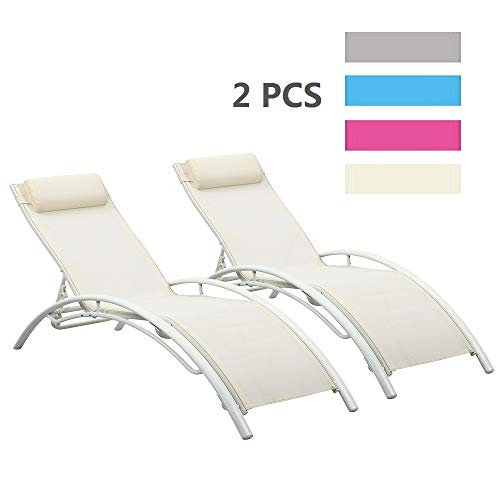 (Leisurelife Adjustable Chaise Lounge Chairs Outdoor with Pillow, 2 PCS, White, Aluminum, Zero Gravity)
