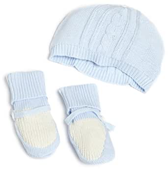 Vitamins Baby-boys Newborn Sweater Knit Cap and Booties, Blue, 0-6 Months