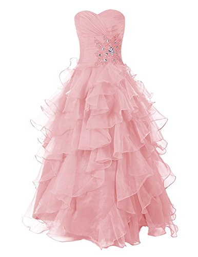 - Victoria Prom Long Prom Dress Sweetheart Bridesmaid Dress Ruched Organza Dress Blush us2