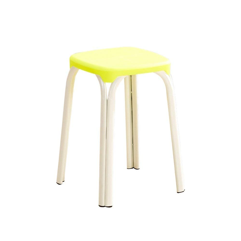 9 GJD Chair-Plastic Stool Padded Adult Household Dining Table Bar Stool Fashion Chair Modern Simple Living Room High Stool Home Convenient (color   8)