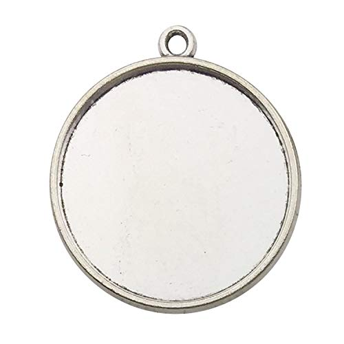 30pcs 25mm Round Connector Pendant Trays, Double Sided, Antique Silver Tone, Fit 25mm Cabochon, Blank Base Setting Bezel Frame Cameo (C7428)