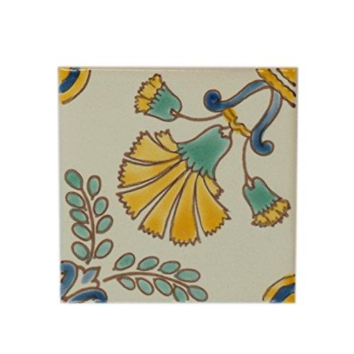 - Casablanca Market MT029 Mediterranean Ceramic Cypress Decorative Tile, Green/Yellow