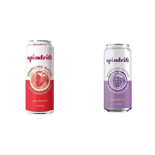 Strawberry and Blackberry Sparkling Water Bundle Pack,  16-Fluid-Ounce Cans, Pack of 24 by Spindrift