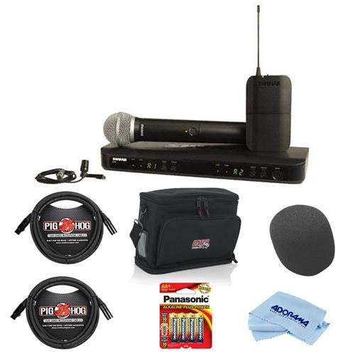 Shure BLX1288/CVL Dual-Channel Combo Wireless System, Includes BLX1/BLX2 with PG58, BLX88, CVL Mic, Power Supply, Clips, Windscreens, J10:584-608MHz - Bundle With Gator GM-DUALW Carry Bag, And ()