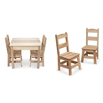 Melissa & Doug Wooden Table and 4 Chairs Bundle