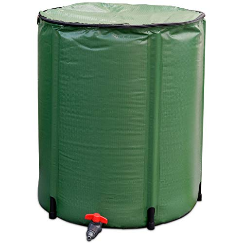 Goplus Portable Rain Barrel Water Collector Collapsible Tank w/Spigot Water Storage Container (53 ()