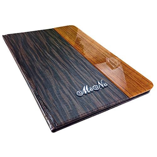 File Folder   8x11 inch Acrylic PU Leather menu Folder 20.4x28.5cm menu Cover 8 Sheets menu Pockets Wood Texture   by ()
