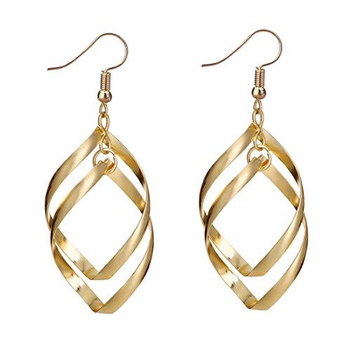 (CrownUS Double Linear Loops Design Twist Wave Long Tassels Drop Dangle Earrings for Women)