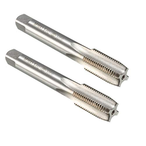 uxcell Metric Taps M16 x 1.5mm Pitch H2 Right Hand Thread Plug Tap HSS Set of 2 for Threading Machine Electric Drill DIY