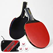 Crossway Sports Professional Ping Pong Paddle Set of 2 Table Tennis Rackets with EVA Protective Edge Tape Incl