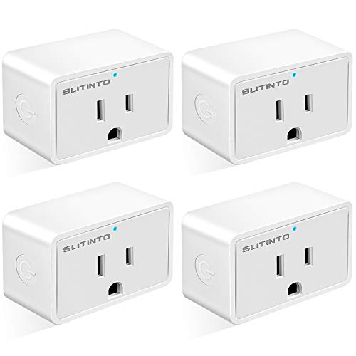 WiFi Smart Plug Works with Alexa Echo/Google Home/IFTTT, slitinto Mini Smart Socket WiFi Outlet with Energy Monitoring and Timer Function, No Hub Required, Remote Control from Anywhere 16A - 4 Pack