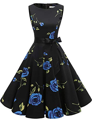 (Gardenwed Women's Audrey Hepburn Rockabilly Vintage Dress 1950s Retro Cocktail Swing Party Dress Blue Rose XL)