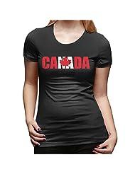Women's Team Canada Canadian Maple Leaf Logo T-shirt Black