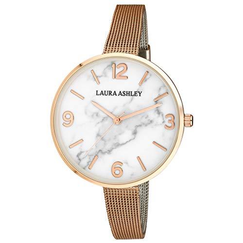 Laura Ashley Ladies LA31062RG Marbleized Dial Rose Gold Skinny Mesh Band Womens Watch