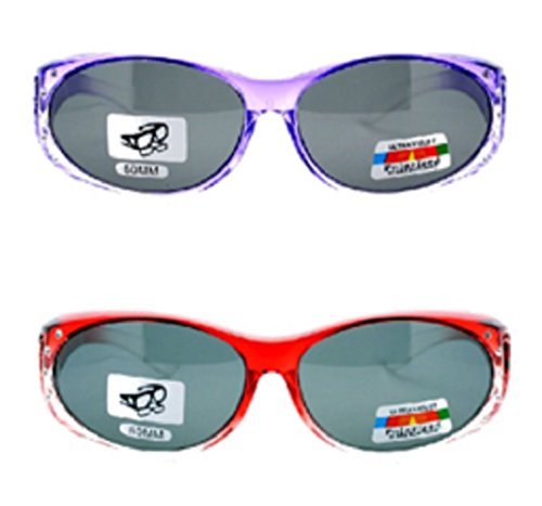 2 Pair of Women's Rhinestone Polarized Fit Over Ombre Oval Sunglasses - Wear Over Prescription Glasses (1 Purple, 1 Red) 2 Carrying Cases - Go Sunglasses That Your Over Glasses
