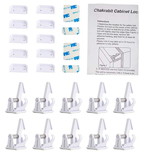 Baby Proofing Cabinet Locks Child Safety Latches Invisible Design 3M Adhesive No Tooling, Drilling: 10 Pack White Drawer Lock for Baby Safety with an Anti-lock, 2 more Sets of 3M Adhesive by Chakrabit by Chakrabit (Image #6)