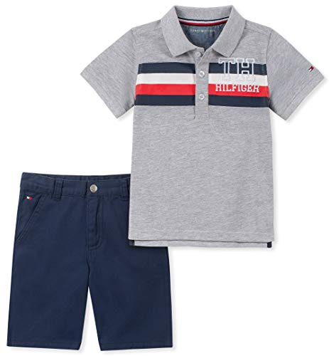 Tommy Hilfiger Baby Boys 2 Pieces Polo Shorts Set, Gray/Blue 3-6 Months