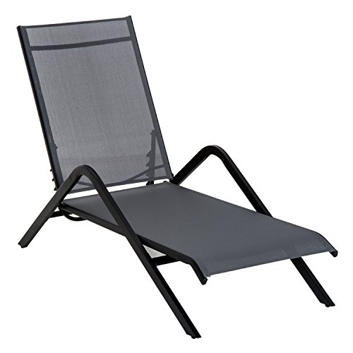 Adjustable Folding Outdoor Chaise Lounge Chair Portable - Grey (Mesh Patio Recliner)