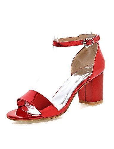 LFNLYX Zapatos de mujer-Tacón Robusto-Punta Abierta-Sandalias-Vestido-Semicuero-Rosa / Rojo / Plata / Oro Red