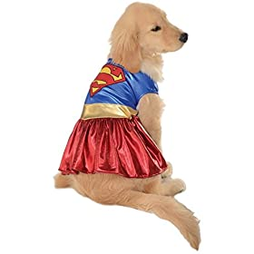 - 41EvqYx W6L - Supergirl Pet Costume Pet Supergirl Halloween Fancy Dress (X-Large)