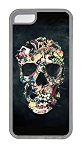 iPhone 5C Case, Customized Protective Soft TPU Clear Case for iphone 5C - Skull Colorful Cover