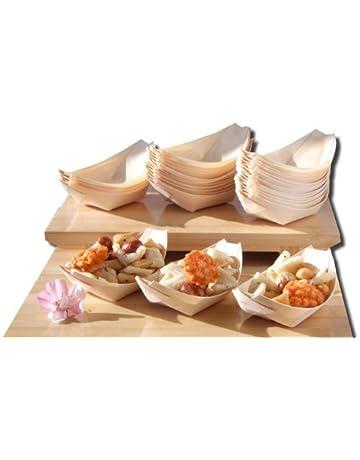 Barcos de madera de bambú x100 para los alimentos del partido, bocados, picar,