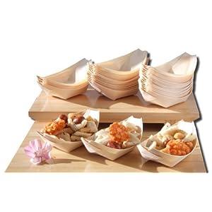 Barche di legno di bambù x100 per cibi di partito, spuntini, nibbles, canapa circa 115X75 mm - Controlli prego il… 1 spesavip