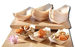 Bamboo wood boats x100 for party foods snacks nibbles for Bamboo canape boats