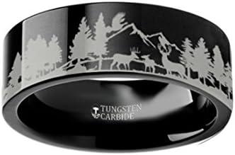 Thorsten Deer STAG Antlers Animal Reindeer Deer Stag Head Print Ring Flat Black Tungsten Ring 12mm Wide Wedding Band from Roy Rose Jewelry