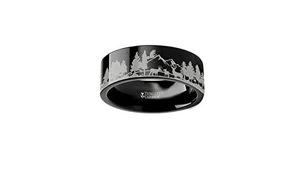 Thorsten Wildlife Stag Deer Elk Animal Antlers Print Pattern Ring Flat Black Tungsten Ring 12mm Wide Wedding Band from Roy Rose Jewelry