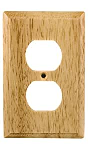 GE 51586 Light Wood Duplex Receptacle Wall Plate by GE