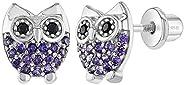 925 Sterling Silver Girls Purple Cubic Zirconia Owl Earrings with Screw Backs