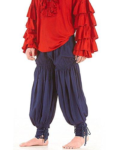 Medieval Renaissance Pirate Swordsman Pants Costume C1054 [Navy] (XX-Large)