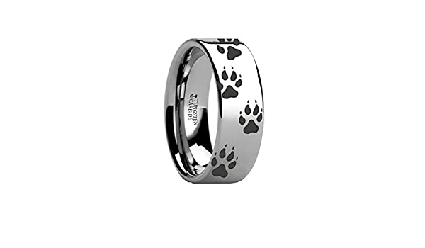 Thorsten Bear PAW Animal Track Bear Paw Print Ring Tungsten Ring Polished 8mm Wide Wedding Band from Roy Rose Jewelry