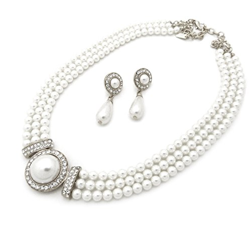 Fashion 21 Women's 3 Rows Rhinestone Trimmed Simulated Pearl Statement Necklace and Earrings Set (White)