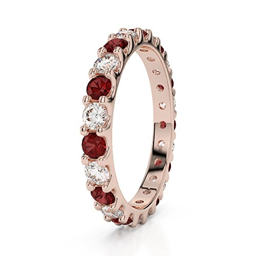 Or Rose 18 carats 0,67 CT G-H/VS sertie de diamants ronds Cut Grenat et éternité Bague Agdr-1105