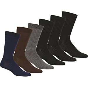 Sakkas Men's Cotton Blend Ribbed Dress Socks, 10-13 - Assorted 6-pack