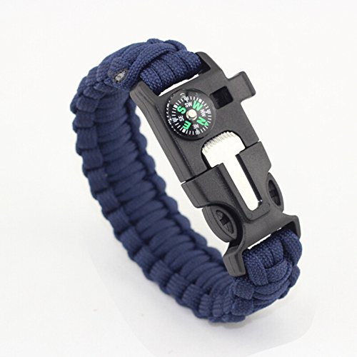 Multifunctional Outdoor Survival Paracord Bracelet Emergency Kit Parachute Cord Buckle 5-in-1 with Fire Starter Compass Emergency Whistle Scraper Parachute Lanyard, Blue (Bracelets Strand Spirit)